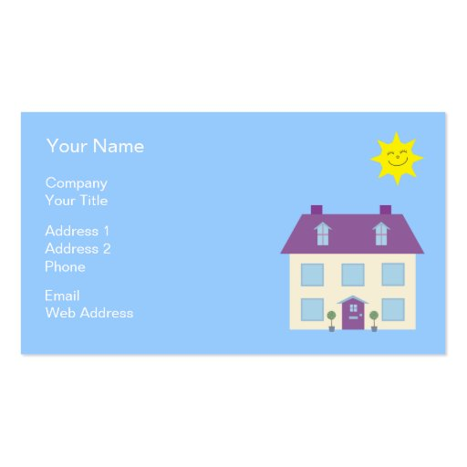 Cute House Illustration Real Estate Business Cards