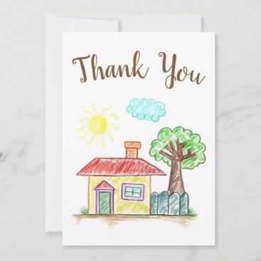Cute house thank you card