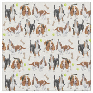 Cute Howling Basset Hound Dogs Fabric