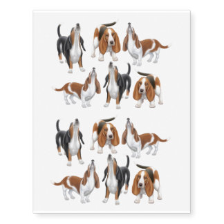 Cute Howling Basset Hounds Temporary Tattoo