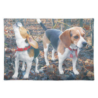 Cute Howling Beagle & Friend Placemat