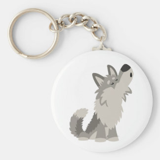 Cute Howling Cartoon Wolf Keychain