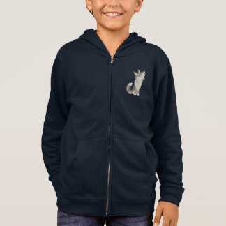 Cute Howling Cartoon Wolf Kids Zip Hoodie