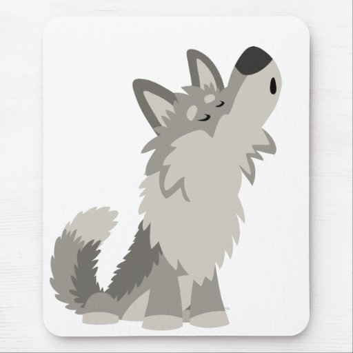 Cute Howling Cartoon Wolf Mousepad Zazzle