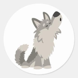 Cute Howling Cartoon Wolf Sticker