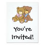 "Cute Hugging Friends Bears 4.25"" X 5.5"" Invitation Card"