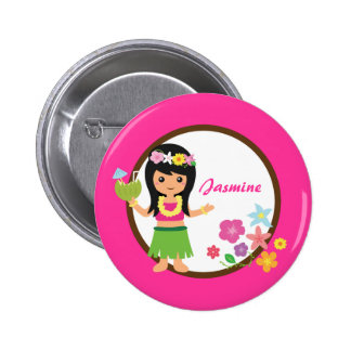 Cute Hula Girl Hawaiian Luau Themed Button