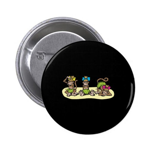 cute hula girl monkeys pinback buttons