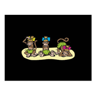 cute hula girl monkeys postcard