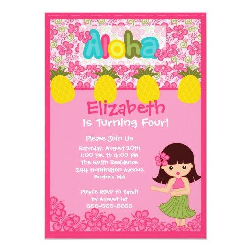 CUTE Hula Girl PInk Birthday Invitation