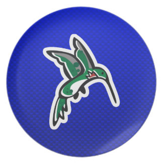 Cute Hummingbird; Blue Plates