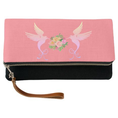 Cute hummingbirds and flowers on coral pink clutch