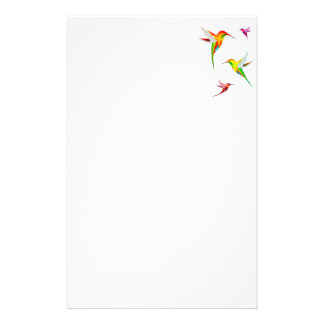 Cute Hummingbirds in Bright Colors - Bird Watching Personalized Stationery