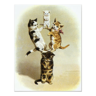 Cute Humor, Vintage Victorian Cats Kittens Playing Invites