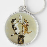 Cute Humor, Vintage Victorian Cats Kittens Playing Silver-Colored Round Keychain