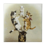 Cute Humor, Vintage Victorian Cats Kittens Playing Small Square Tile