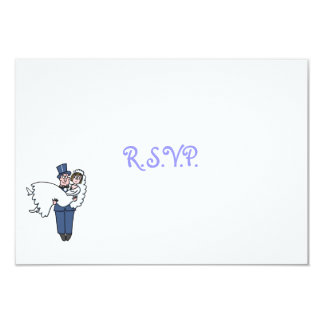 Cute Humorous Bride and Groom Cartoon RSVP Card