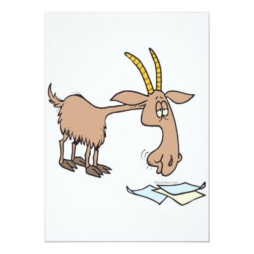 "cute hungry goat cartoon 5"" x 7"" invitation card"