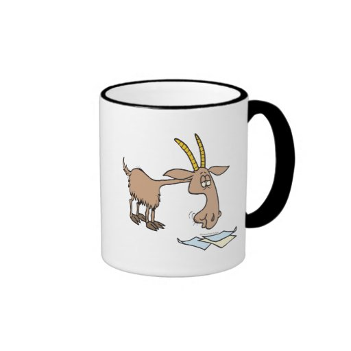 cute hungry goat cartoon coffee mug