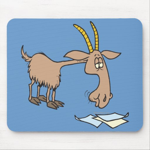 cute hungry goat cartoon mouse pad