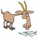cute hungry goat cartoon photo sculpture