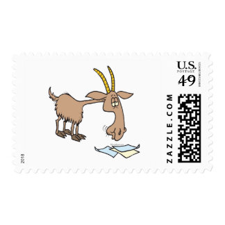 cute hungry goat cartoon postage stamps