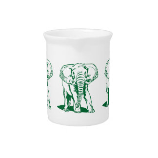Cute Hunter Green Elephant Line Drawing Drink Pitcher