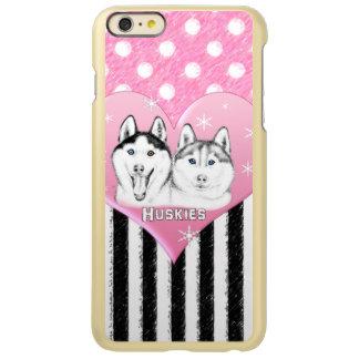 Cute Huskies pink pattern Incipio Feather Shine iPhone 6 Plus Case