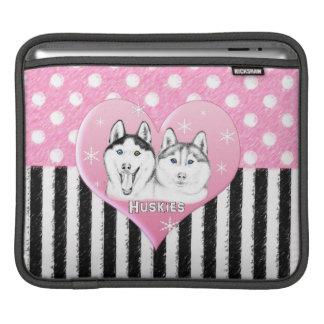 Cute Huskies pink pattern iPad Sleeve