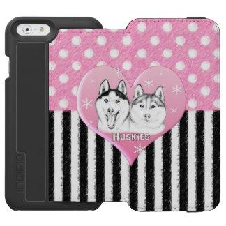 Cute Huskies pink pattern iPhone 6/6s Wallet Case