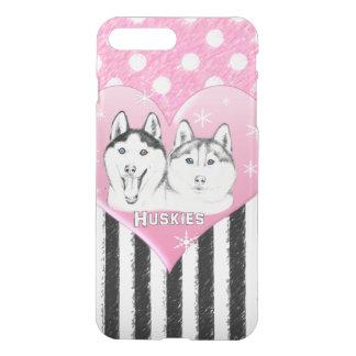 Cute Huskies pink pattern iPhone 8 Plus/7 Plus Case