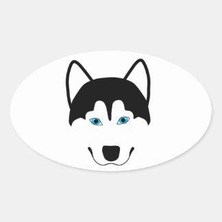 Cute Husky dog breed image Oval Sticker