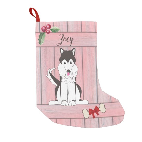 Cute Husky Girl Dog Pink Wooden Fence Monogram Small Christmas Stocking