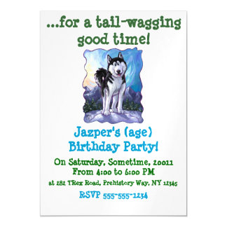Cute Husky Party Magnetic Card