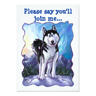 Cute Husky Themed Birthday Party 5x7 Paper Invitation Card