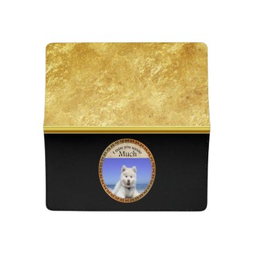 Cute Husky's with blue eye sitting on the beach Checkbook Cover