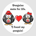 Cute I Found My Penguin Mate for Life Red Heart Classic Round Sticker