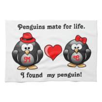 Cute I Found My Penguin Mate for Life Red Heart Hand Towel