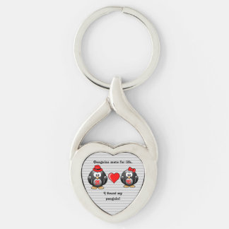 Cute I Found My Penguin Mate for Life Red Heart Keychain