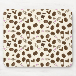Cute I Heart Coffee Pattern Mouse Pad