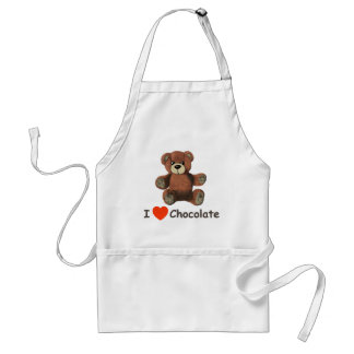 Cute I Heart (Love) Chocolate Teddy Bear Adult Apron