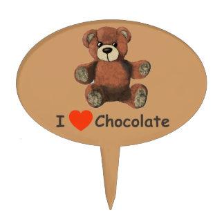 Cute I Heart (Love) Chocolate Teddy Bear Cake Topper