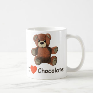 Cute I Heart (Love) Chocolate Teddy Bear Coffee Mug