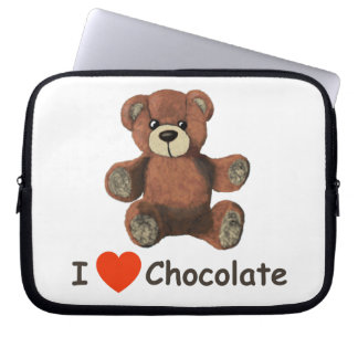 Cute I Heart (Love) Chocolate Teddy Bear Computer Sleeve