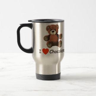 Cute I Heart (Love) Chocolate Teddy Bear Travel Mug