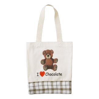 Cute I Heart (Love) Chocolate Teddy Bear Zazzle HEART Tote Bag