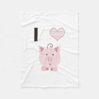 Cute I heart pigs Desgin Fleece Blanket