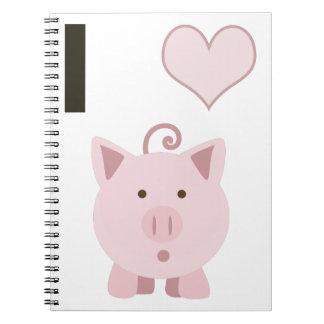 Cute I heart pigs Desgin Notebook