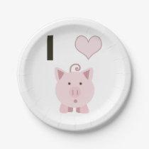 Cute I heart pigs Desgin Paper Plate