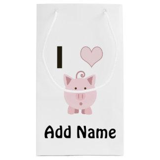 Cute I heart pigs Desgin Small Gift Bag